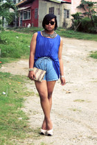 vintage shorts - Parisian bag - Forever 21 blouse - Centropelle pumps