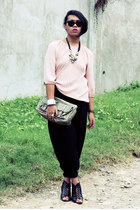 vintage blouse - Secosana bag - Parkmall pants - Parisian wedges