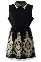 Golden Embroidery Sleeveless Black Dres