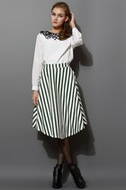 Stripe Faux Leather Full Midi Skirt in Green