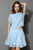 Sheer Blue Houndstooth Top and Skirt Set