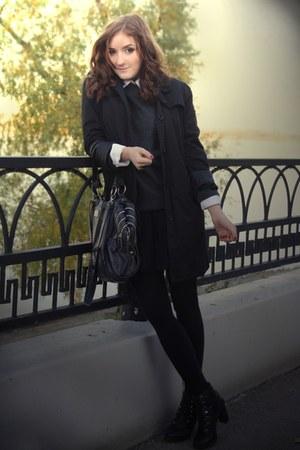 black  coat - dark gray  sweater - black  bag - black  stockings - white  blouse