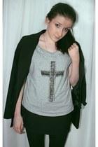 silver VDOXNOVENIE t-shirt - black Topshop blazer - black Calzedonia tights