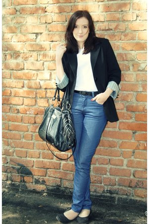 black no brand shoes - blue  jeans - black Adilishikc blazer
