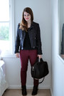 Black-leather-acne-boots-navy-metallic-thread-zara-jacket