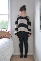 crimson lace-up boots - beige oversized Sportsgirl sweater - black American Appa