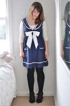 navy sailor chic star dress - black fringed Country Road boots