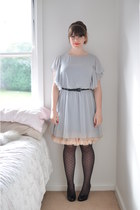 black leather Country Road shoes - heather gray asos dress - pink petticoat slip