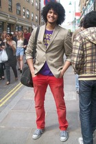 beige Gap jacket - blue Converse shoes - red H&M jeans - purple Gap t-shirt