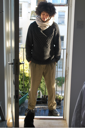 beige Cocowai scarf - black H&amp;M sweater - brown Gucci pants - black Converse sho
