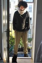 beige Cocowai scarf - black H&M sweater - brown Gucci pants - black Converse sho