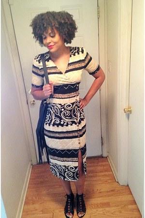 black fringed purse TJ Maxx bag - camel vintage dress Nina Picallino dress