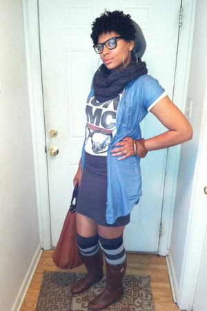 knee high Target boots - benie Forever 21 hat - denim dress Forever 21 shirt