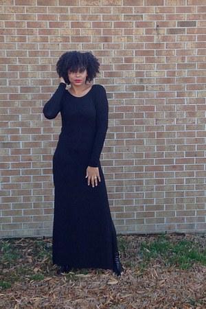 black boots - black boots - black Forever 21 dress