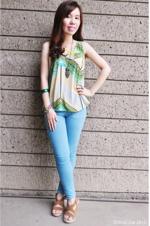 green bracelet - light blue jeans - yellow top - bronze necklace - camel wedges