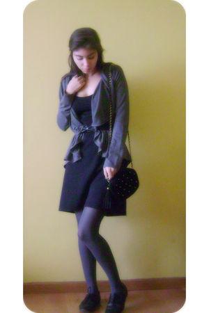 black unknown dress - silver unknown cardigan - silver Caffarena tights - black
