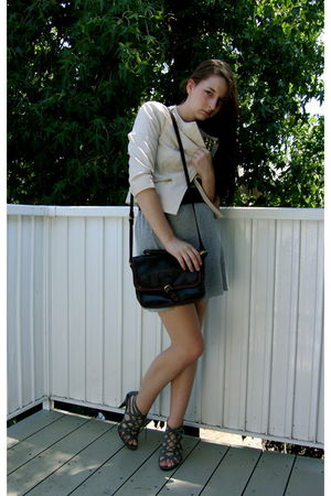beige Sele jacket - gray Express dress - brown brahmin purse - brown saks belt -