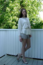 white blouse - beige shorts - BD shoes - silver Forever21 necklace