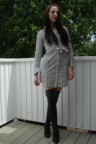 white Lux dress - black Colin Stuart boots