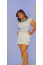 white lace Zara top - white with zippers skirt - aquamarine michael antonio heel