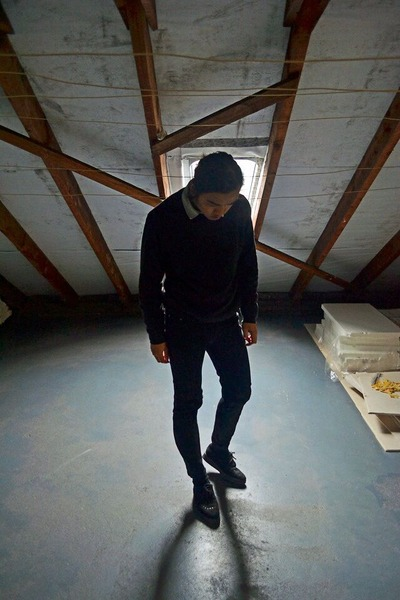 black leather Underground shoes - black cotton vintage sweatshirt