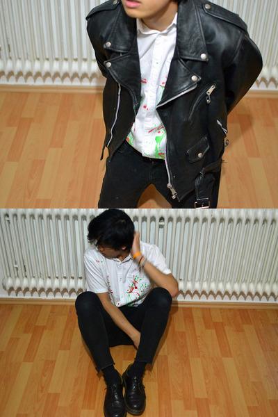 black leather Dr Martens shoes - black leather vintage jacket