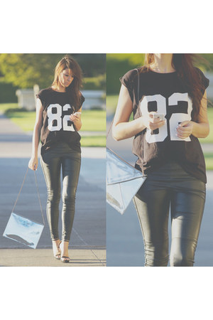 black Forever 21 t-shirt - silver Zara bag - black H&M pants