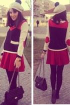 cream pom-pom beret H&M hat - ruby red H&M Trend sweater - ruby red pleated Zara
