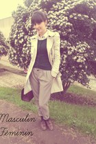 dark brown oxford Zara shoes - beige trench coat Zara coat - dark brown doctor b