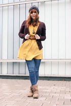 yellow Only blouse - brown Vila jacket - black darth vader Ebay bag