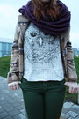 White-owl-print-h-m-shirt-mustard-zara-hat-camel-esprit-jacket