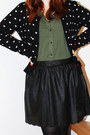 Black-mango-cardigan-army-green-new-yorker-shirt-black-stradivarius-skirt