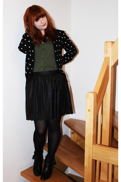 black Mango cardigan - army green New Yorker shirt - black Stradivarius skirt