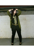 green H&M cardigan - black FleaMarket shoes