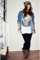 blue Pull & Bear shirt - white Famous Stars & Straps shirt - camel Primark hat