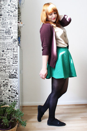 green H&M skirt - nude Pimkie shirt - maroon H&M cardigan - black Vans sneakers