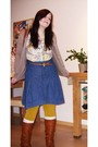 White-h-m-blouse-beige-mango-cardigan-blue-only-skirt-yellow-accessorize-t