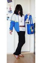 vintage Adidas jacket - Amisu blouse - zoo york pants - vintage purse - thrifted