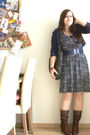 Blue-h-m-dress-brown-vintage-boots