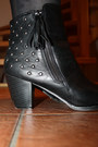 Black-studded-new-yorker-boots-nude-promod-dress-black-sequined-h-m-cardigan