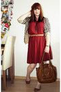 Brick-red-camaieu-dress-brown-h-m-belt-light-brown-h-m-cardigan
