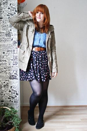 blue pull&bear shirt - camel c&a jacket - black GINA TRICOT skirt