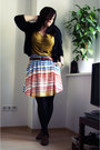 Yellow-h-m-shirt-black-h-m-cardigan-white-h-m-skirt-brown-primark-belt