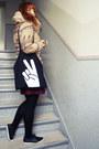 Maroon-h-m-skirt-camel-esprit-jacket-black-promod-shirt