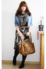 Charcoal-gray-high-low-promod-skirt-blue-h-m-jacket