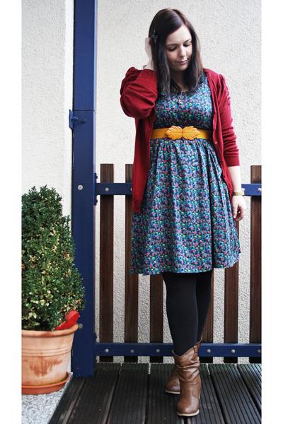 Blue Hu0026M Dresses Light Brown Via EBay Boots Black Tights ...