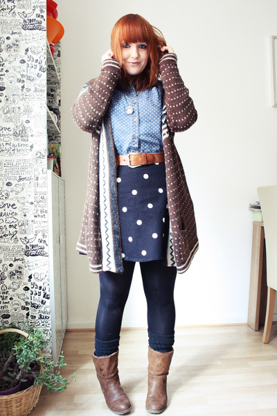 brown Urban Outfitters cardigan - blue Primark shirt - black H&M skirt