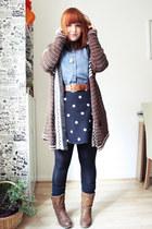 brown Urban Outfitters cardigan - blue Primark shirt - black H&M skirt