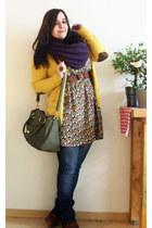 yellow Zara cardigan - pink H&M shirt - olive green Primark bag - brown Akira sh