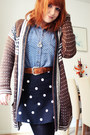 Blue-primark-shirt-black-h-m-skirt-brown-urban-outfitters-cardigan